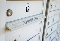 Outgoing mail box locker. View royalty free stock photos