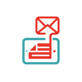 Outgoing mail icon on tablet laptop vector illustration. Stock Photography