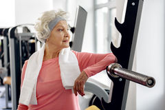 Outgoing retiree training in gym Stock Photos