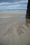 Outgoing tide. The outgoing tide forms intricate patterns in the sand on Durness Beach royalty free stock photography