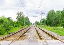Outgoing train rails, in Jurmala, Latvia 2017year.  royalty free stock photography