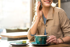 Outgoing woman speaking at cellphone Royalty Free Stock Image
