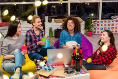 Outgoing women chatting at party Stock Images