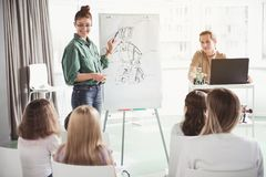Positive teachers describing how to create toy. Outgoing women telling how to make robot. She pointing at board with image by pen. Happy men using gadget. Kids Royalty Free Stock Image