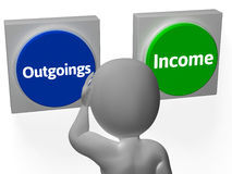 Outgoings Income Buttons Show Budgeting Stock Photo