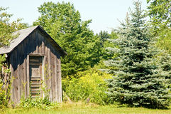 Outhouse on edge of woods. A view of an old wooden outhouse or shack on the edge of the woods Stock Photos