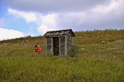 Outhouse on a hill Royalty Free Stock Photo
