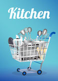 Outil de cuisine sur un caddie Photographie stock libre de droits