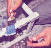 outil de peinture d'isolement par balai de fond blanc Images libres de droits