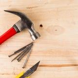 outil de travail sur la table en bois Images libres de droits