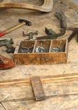 Outil en bois et vieil Image stock