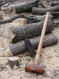 Outils à main de division de bois de chauffage et  Image libre de droits