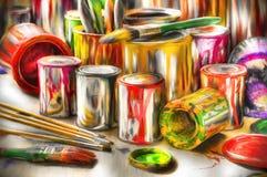 Outils acryliques de peinture Photos libres de droits
