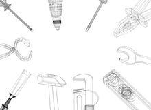 Outils - architecte Blueprint - d'isolement illustration stock