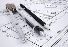 Outils architecturaux de dessin et d'ingénierie illustration libre de droits