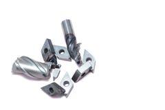 Outils cassés de tour en métal et outils de moulin Images stock