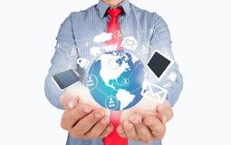 Outils d'affaires dans les mains photo stock