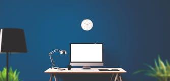 Outils d'affichage et de bureau d'ordinateur sur le bureau Image libre de droits