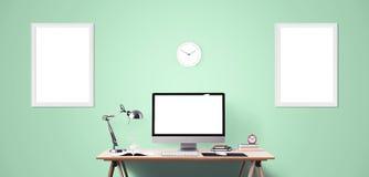 Outils d'affichage et de bureau d'ordinateur sur le bureau Écran d'ordinateur de bureau d'isolement Photographie stock libre de droits