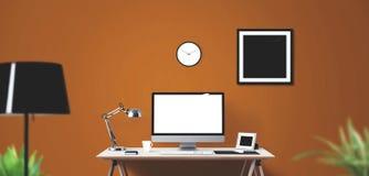 Outils d'affichage et de bureau d'ordinateur sur le bureau Écran d'ordinateur de bureau d'isolement Images stock