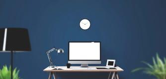 Outils d'affichage et de bureau d'ordinateur sur le bureau Écran d'ordinateur de bureau d'isolement Image stock
