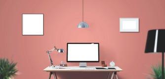 Outils d'affichage et de bureau d'ordinateur sur le bureau Écran d'ordinateur de bureau d'isolement Photographie stock