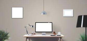 Outils d'affichage et de bureau d'ordinateur sur le bureau Écran d'ordinateur de bureau d'isolement Image libre de droits