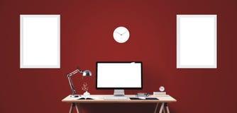 Outils d'affichage et de bureau d'ordinateur sur le bureau Écran d'ordinateur de bureau d'isolement Photos stock