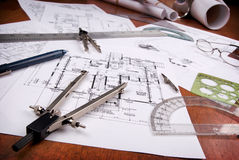 Outils d'architecte Photos stock