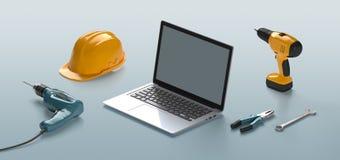 Outils d'ordinateur portable, de casque, de foret et de construction illustration de vecteur