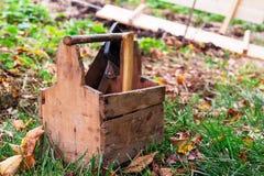 Outils de boîte en bois Photographie stock libre de droits