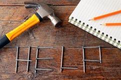 Outils de bricolage et fond de banc de travail Photo libre de droits