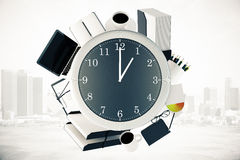 Outils de bureau et ville d'horloge illustration stock