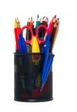 Outils de bureau sur le fond blanc Image stock