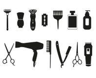 Outils de coiffeur et icônes de coupe de cheveux réglées Photos libres de droits
