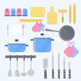 Outils de cuisine avec l'équipement de vaisselle de cuisine illustration de vecteur