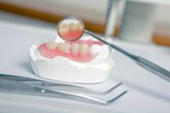 Outils de dentiste avec le dentier acrylique (dents fausses) photographie stock
