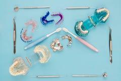 Outils de dentiste et orthodontique Photographie stock