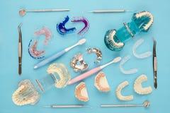 Outils de dentiste et orthodontique Images libres de droits