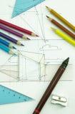Outils de dessin d'en haut Image stock