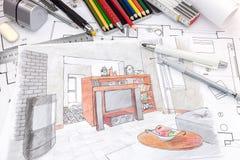 Outils de dessin de concepteurs sur le croquis coloré d'un salon Image libre de droits