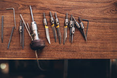 Outils de gravure pour la fabrication de bijoux image stock