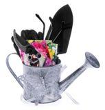 Outils de jardin : boîte d'arrosage, cisaillements, épaule, petit râteau, gants Images libres de droits