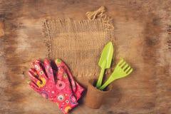 Outils de jardin, pots pour des usines et gants sur le fond en bois âgé Copiez l'espace photo libre de droits