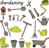 Outils de jardin sur le fond blanc Illustration lumineuse de bande dessinée Photos libres de droits