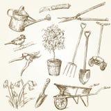 Outils de jardinage neufs, plateau de canne Photos stock