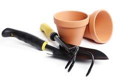 Outils de jardinage neufs, plateau de canne Photos libres de droits