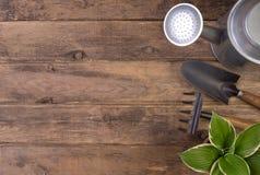 Outils de jardinage o en bois Photos libres de droits