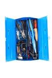 Outils de mécanicien de dépanneur dans la boîte bleue Photo stock