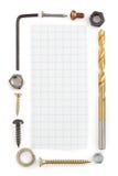 Outils de matériel sur le blanc Image stock